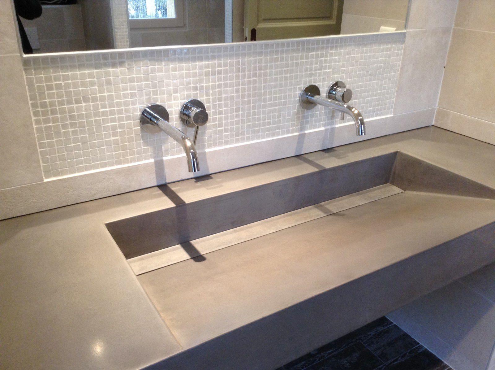 Waschtischplatte / bfuhp Ductal© Beton / kundenspezifisch - LAME ... | {Waschtischplatte beton 62}