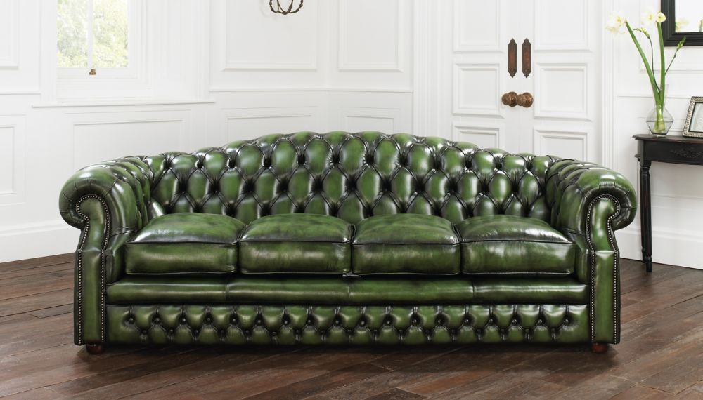 Chesterfield Sofa Leder 3 Platze Grun Buckingham