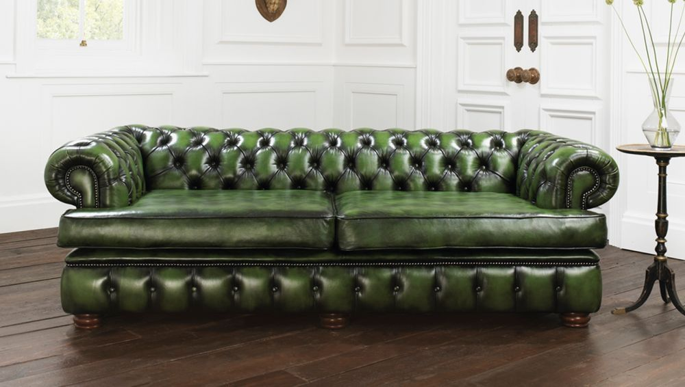 Chesterfield Sofa Leder 2 Platze Grun Harewood Distinctive