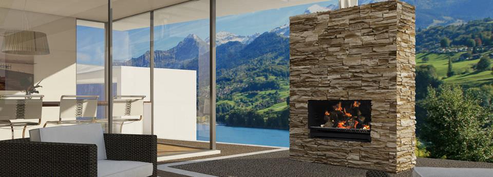 Holzbefeuerter Kamin / Modern / Offene Feuerstellen / Einbau ...
