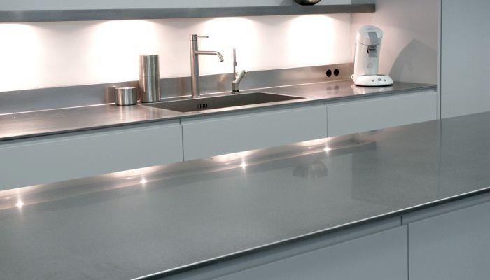 edelstahl-arbeitsplatte / küchen - 12mm - abk innovent - Küche Mit Edelstahl Arbeitsplatte