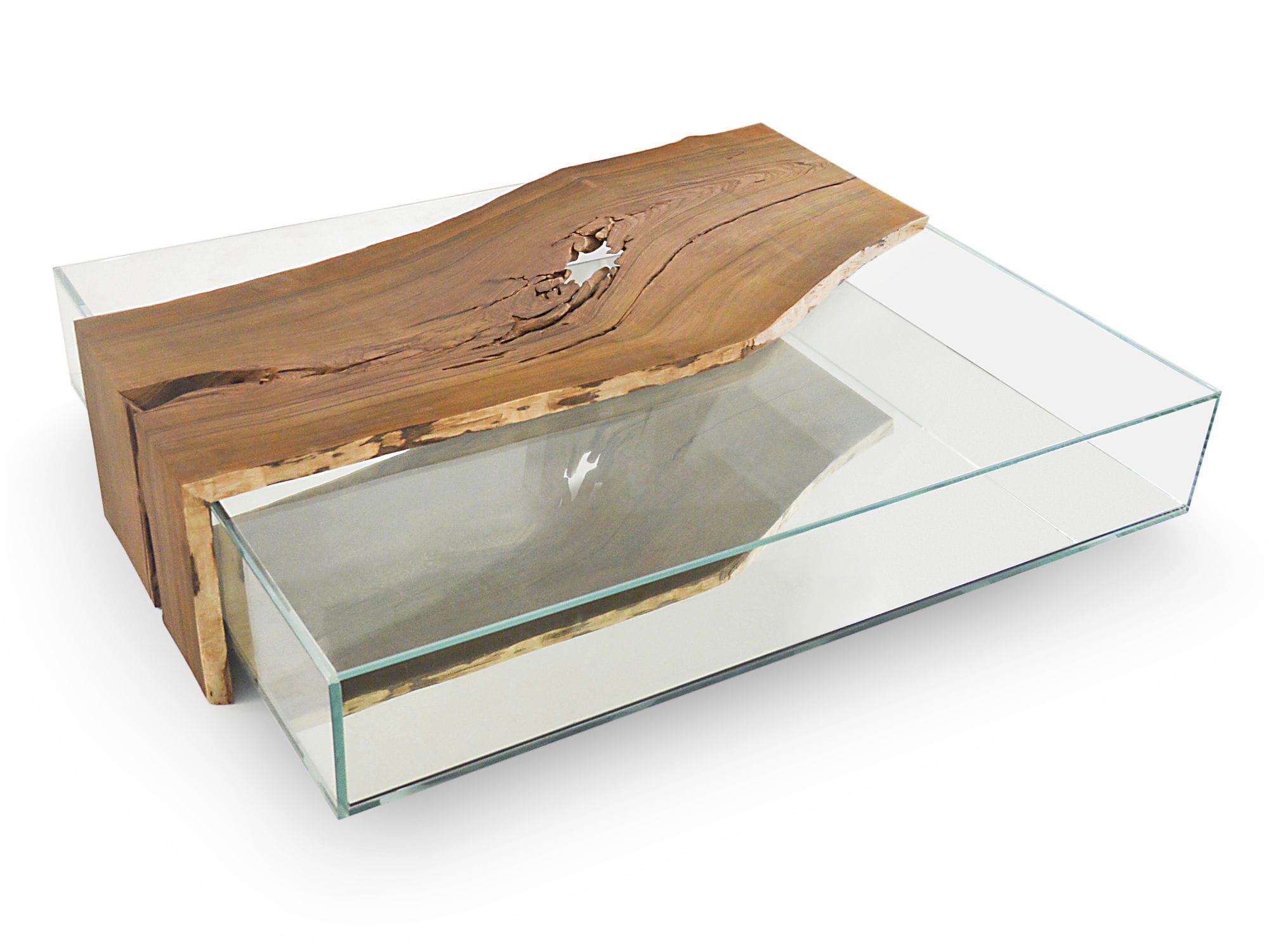 Moderner Couchtisch Glas Massivholz Rechteckig Cocobolo