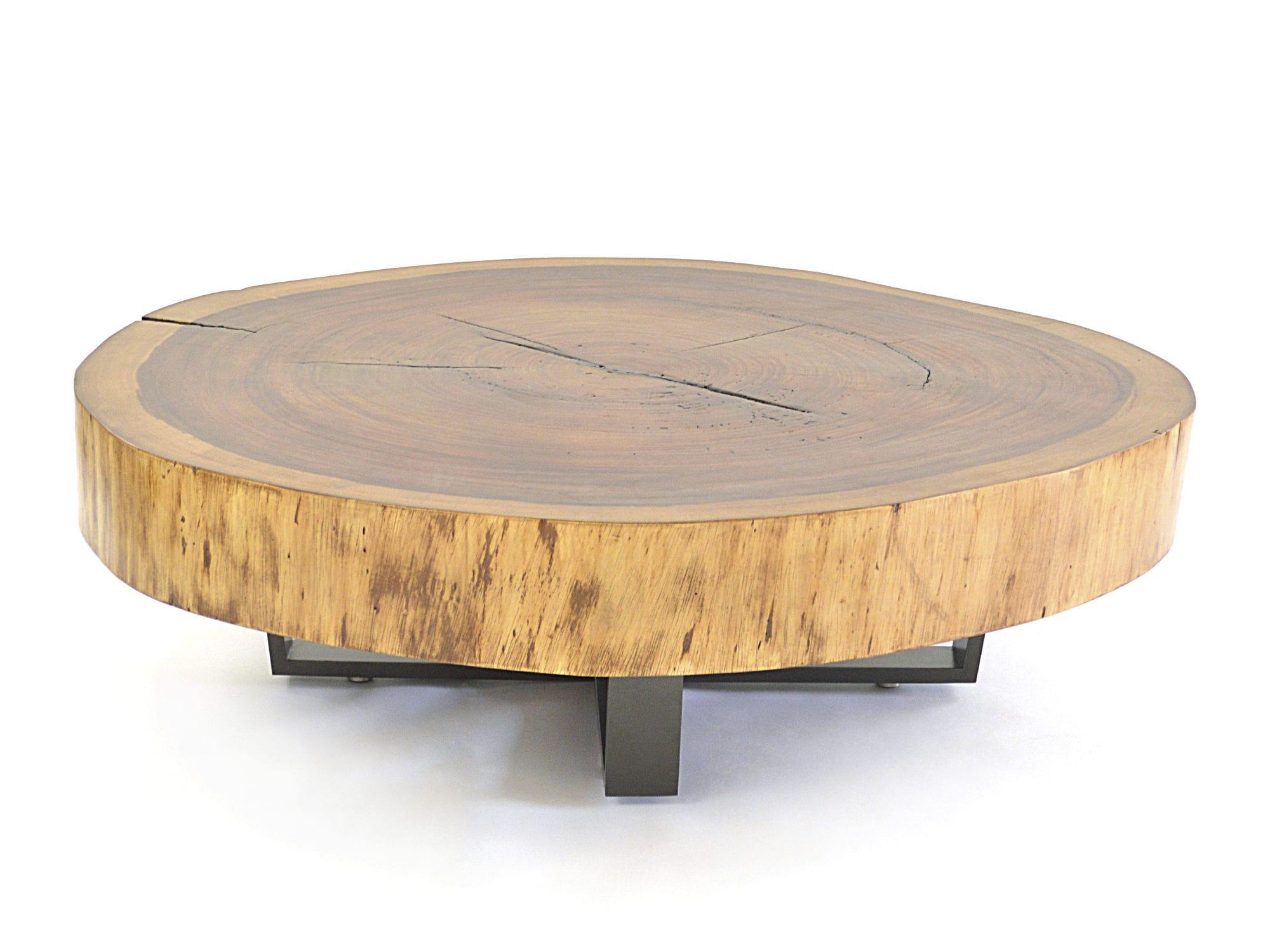 Moderner Couchtisch Holz Metall Rund Bolacha Rotsen Furniture