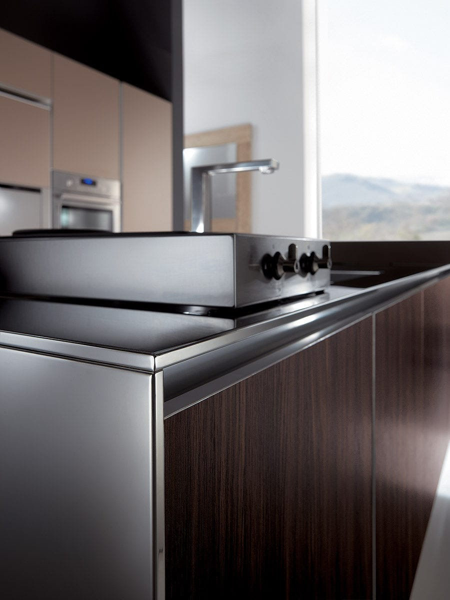 Moderne küche aluminium holz kochinsel h 72 75 mt 200