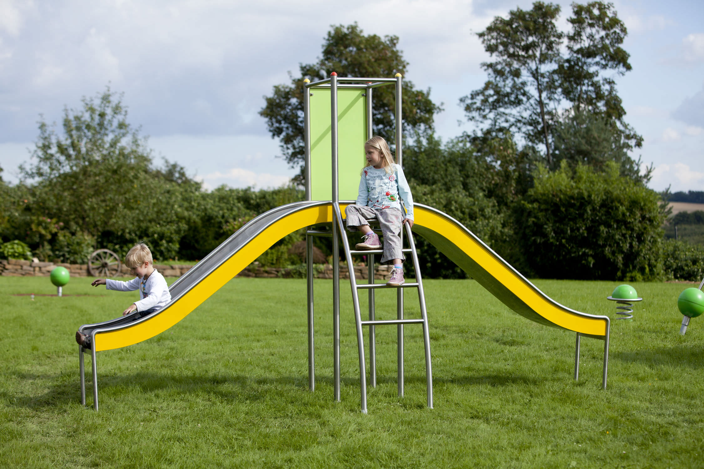 Klettergerüst Edelstahl : Gerade rutsche für spielplätze edelstahl stilum arvus