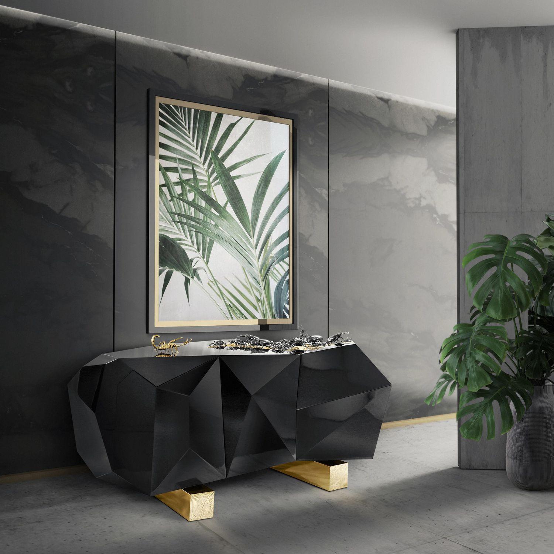 Sideboard / originelles Design / Holz / Messing / schwarz - DIAMOND ...