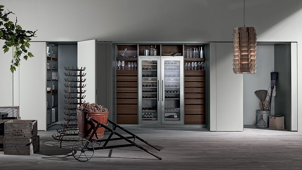Versteckte Schiebetür moderne küche metall versteckte lackiert tu23a by massimo