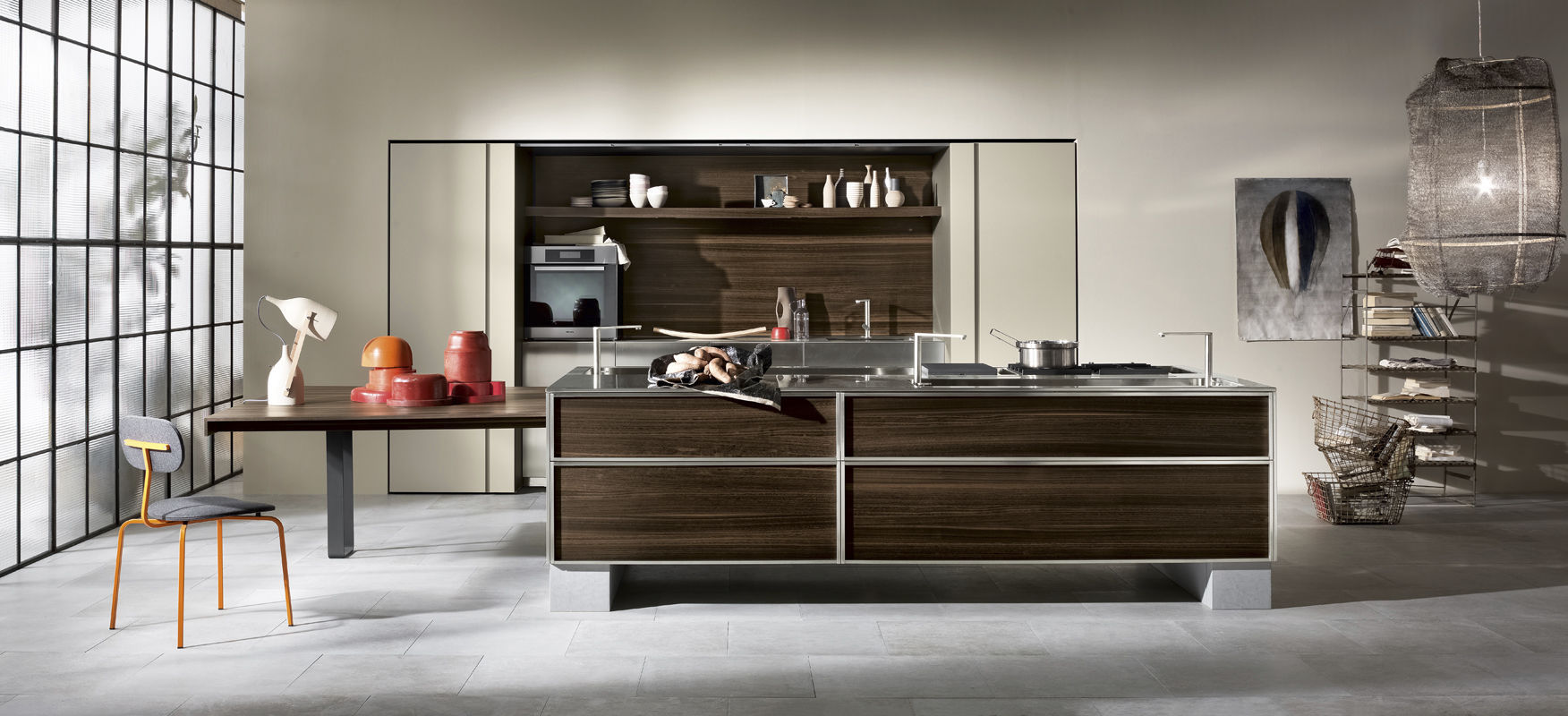 Moderne küche aus edelstahl holzfurnier versteckte tk38 by massimo castagna rossana