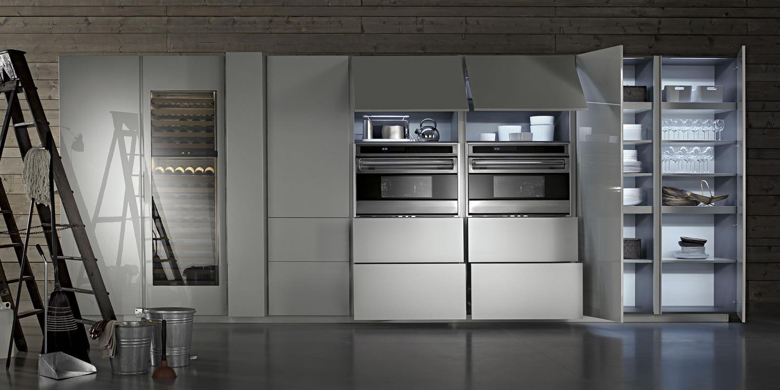Moderne küche melamin holz versteckte tu23 by massimo kuchen