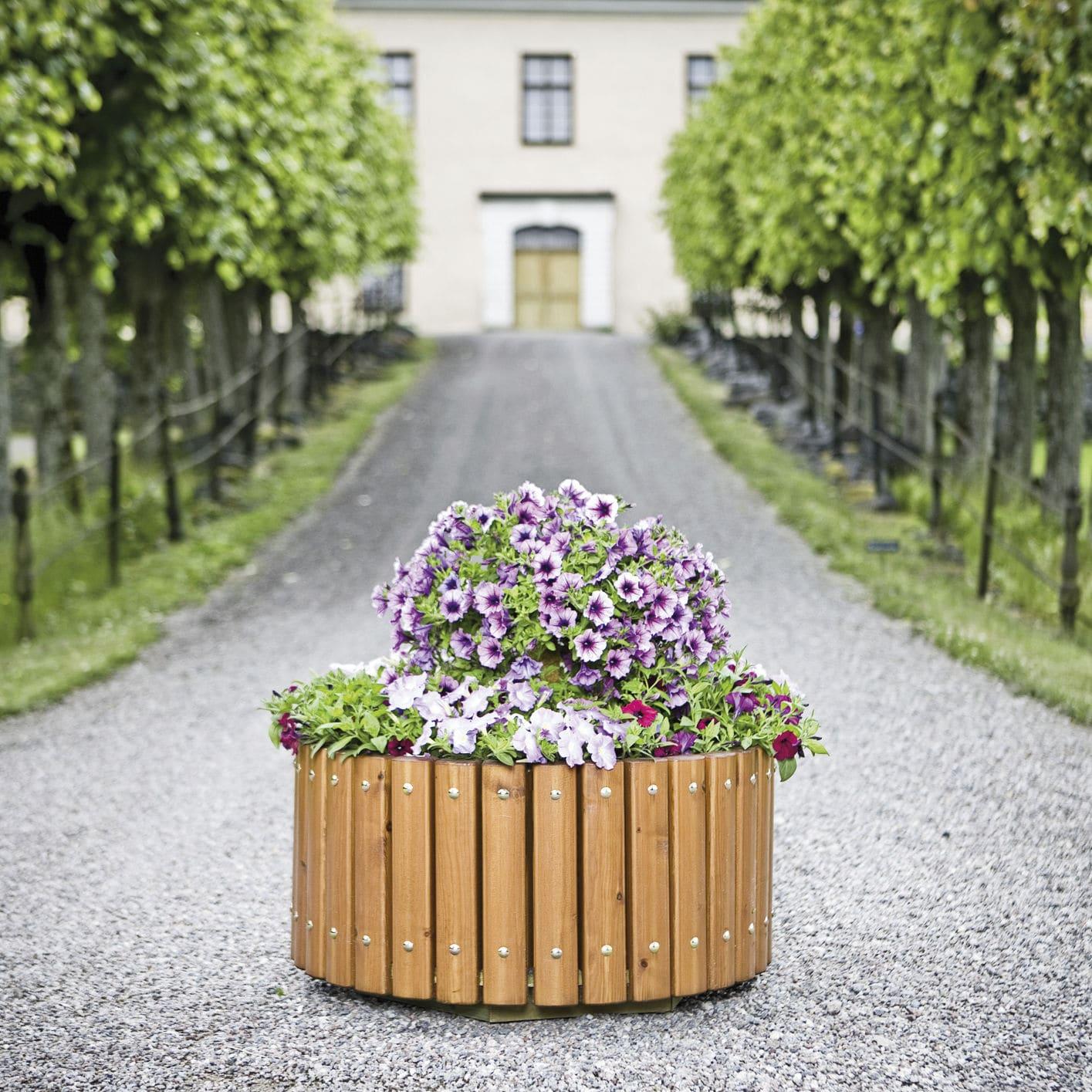 holz-pflanzkübel / rund / klassisch / für öffentliche bereiche