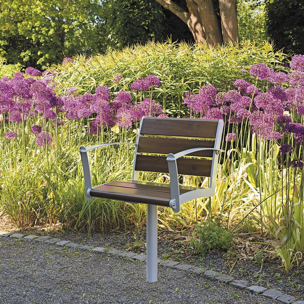 Moderner Gartenstuhl / Mit Armlehnen / Metall / Holz   NF4022