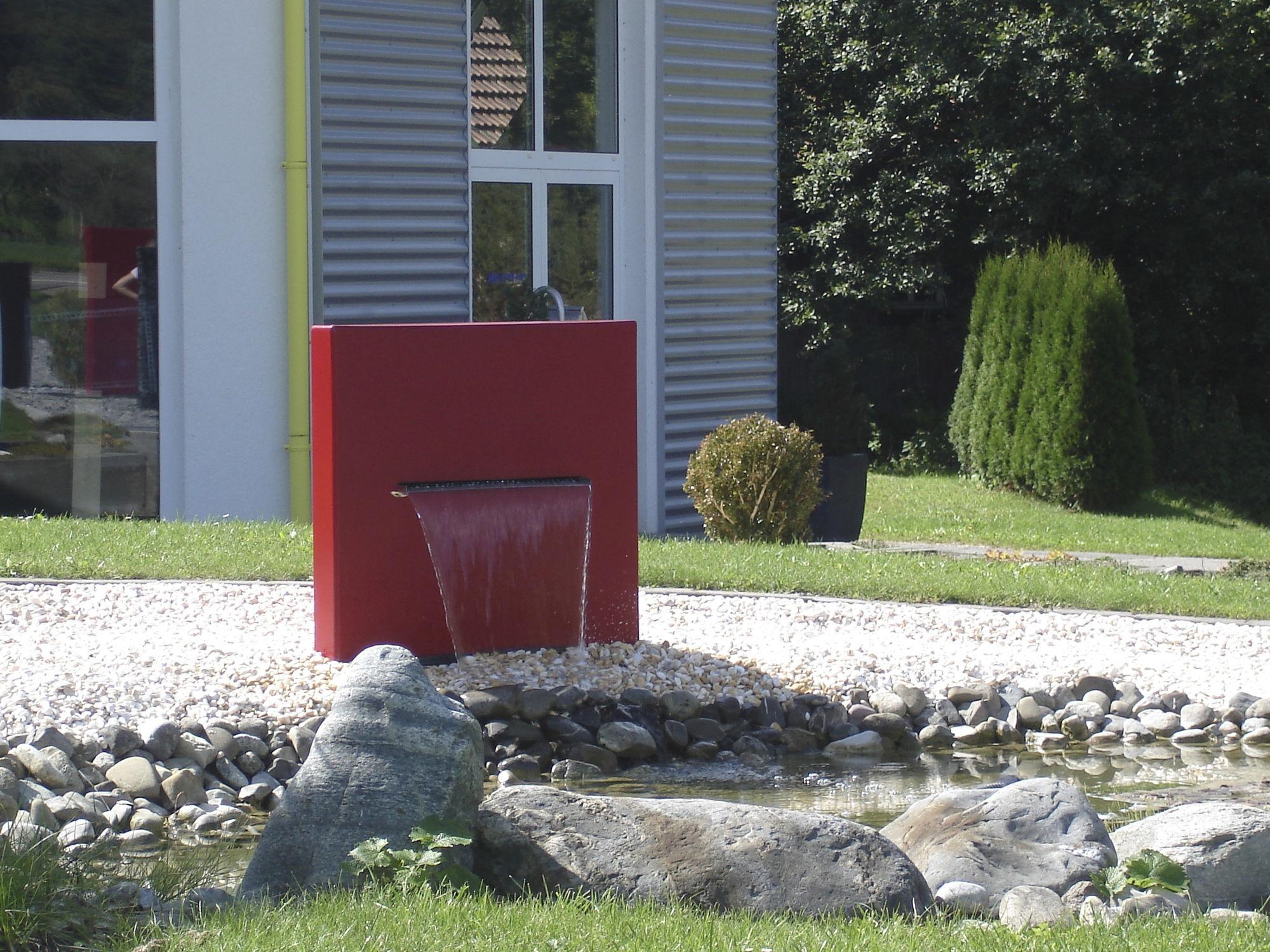 garten-springbrunnen / modern - wasserfall-stele - slink - ideen, Garten und bauen