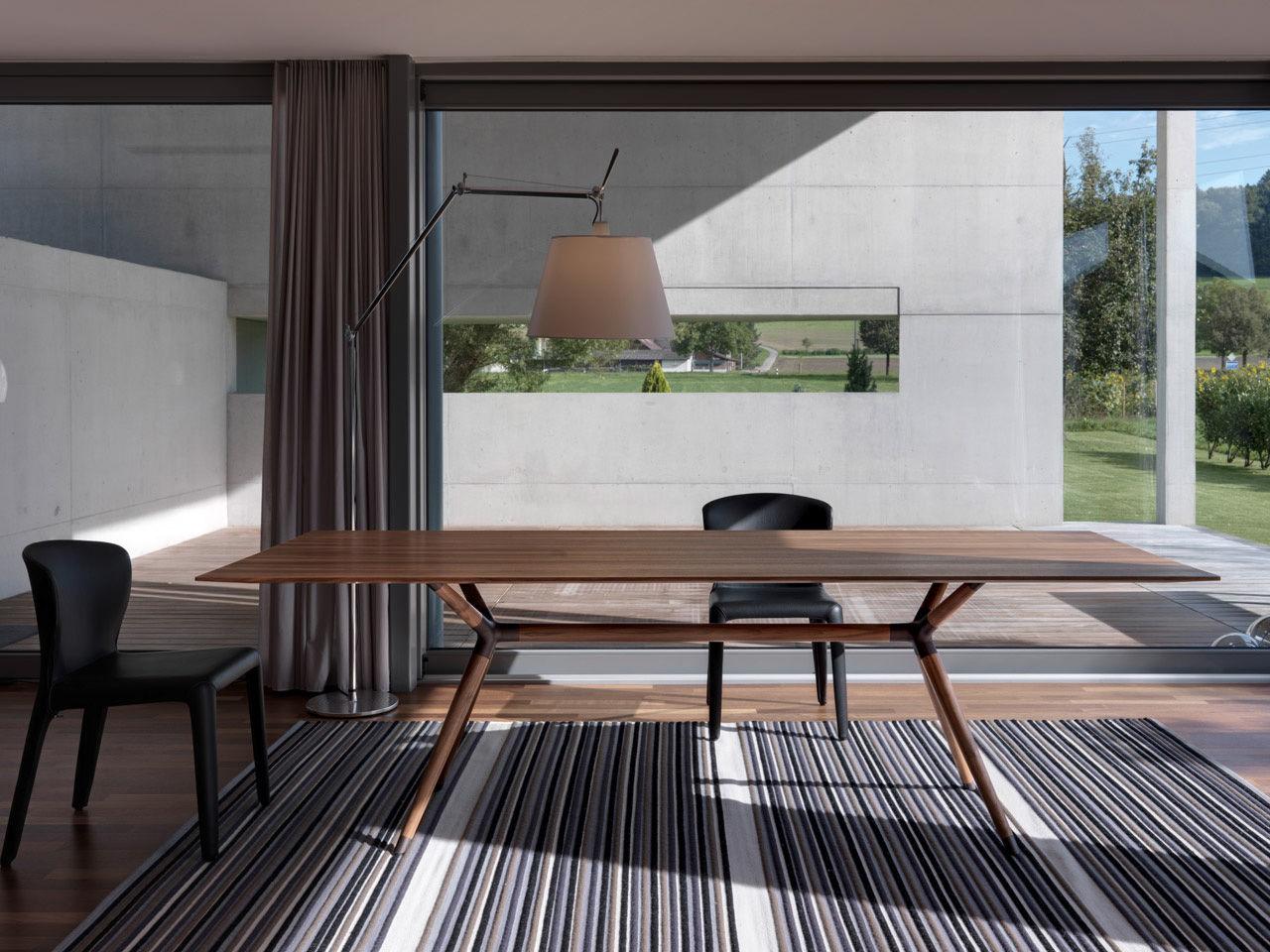 moderner tisch / holz / stahl / rechteckig - x2 - mobimex - Moderner Esstisch Holz Stahl