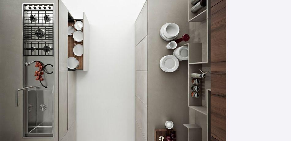 Moderne Küche / Holzfurnier / lackiert / ohne Griff - LINE K ...