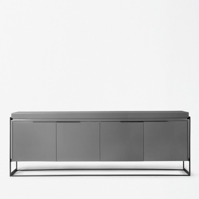 Modernes Sideboard Holz Gestrichenes Metall Grau Bea Xvl