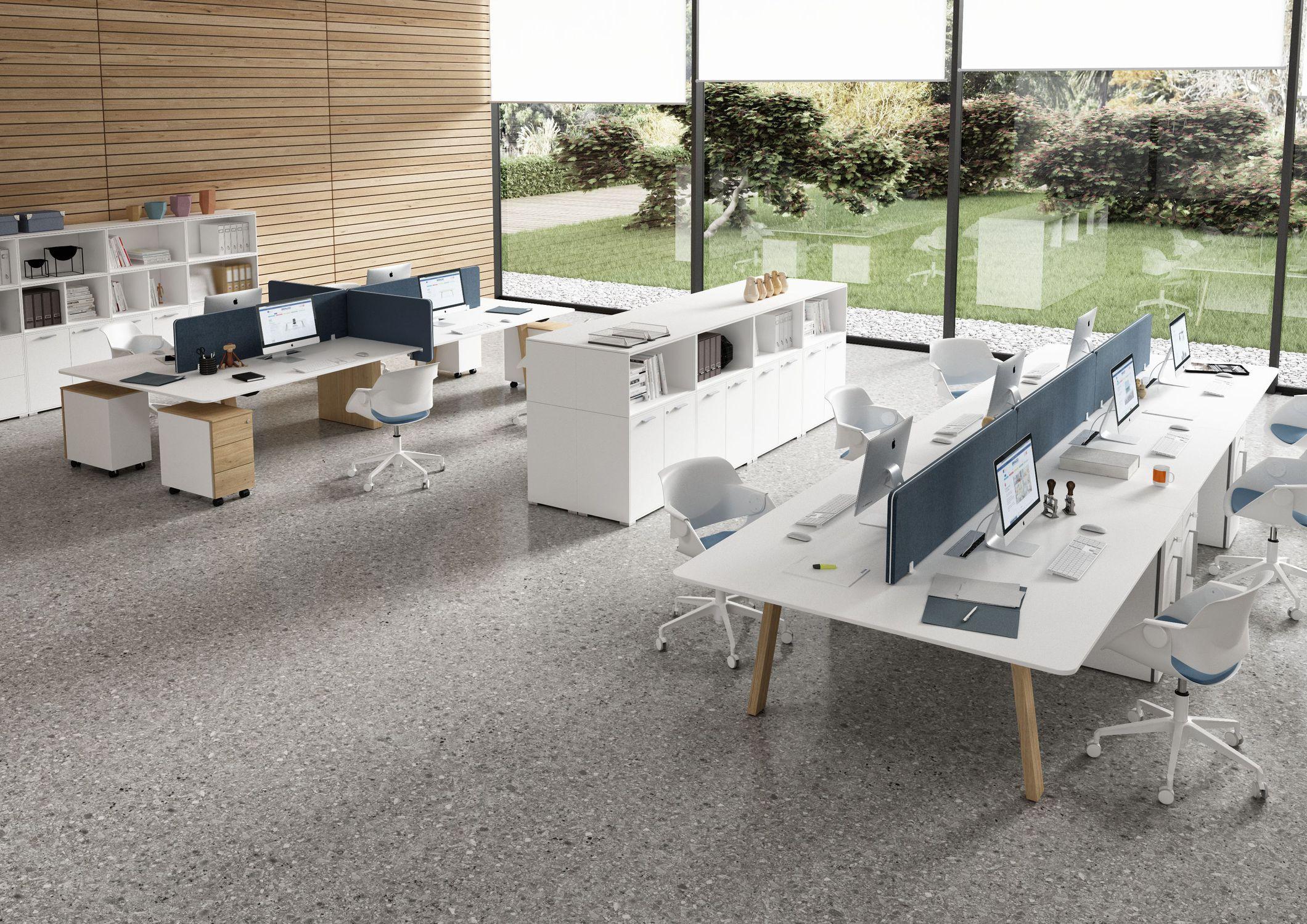 Schreibtisch für open space melamin modern objektmöbel take