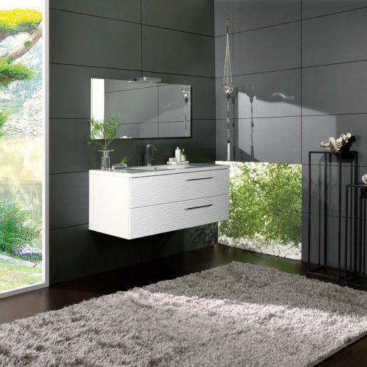 Doppelter Waschtischunterschrank / hängend / Holz / modern - 120 ... | {Waschtischunterschrank holz hängend 120 38}