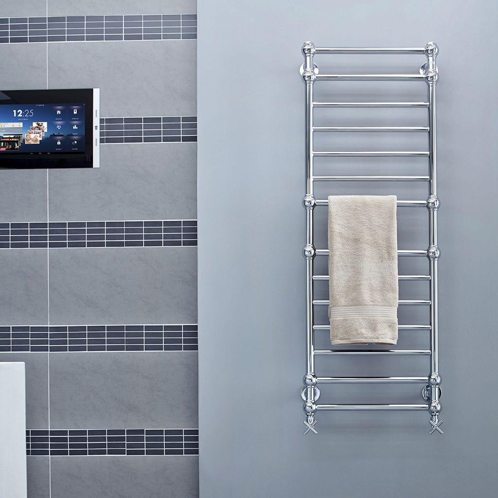 Heißwasser-Badheizkörper / elektrisch / Stahl / Chrom - HT RETRO ...