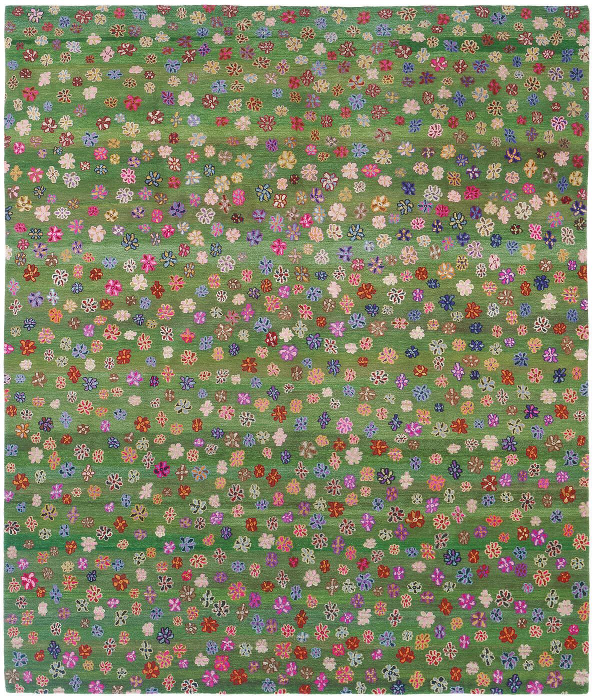 Moderner Teppich Blumenmotive Wolle Rechteckig Little