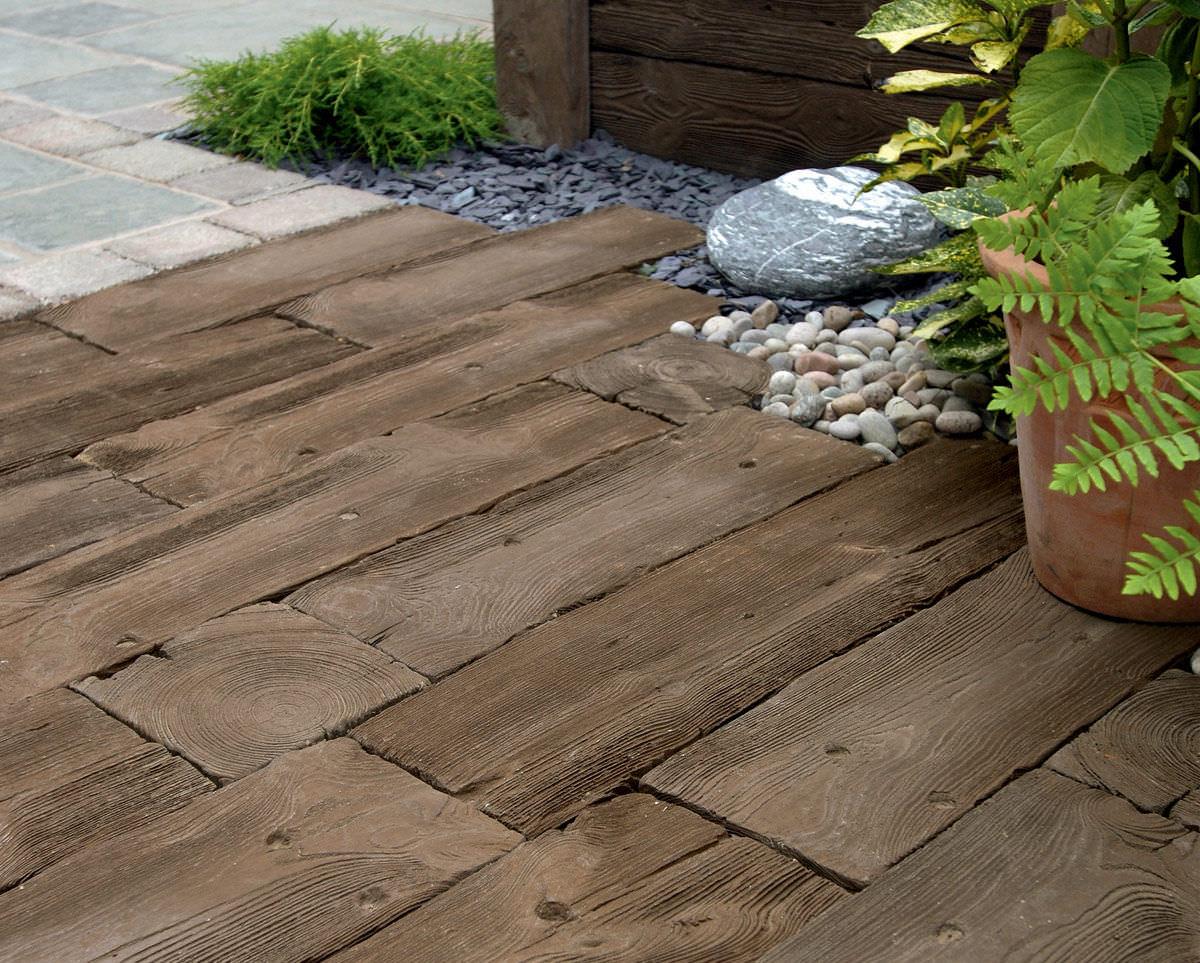 außenbereich-fliesen / für fußböden / holz / beton - woodstone