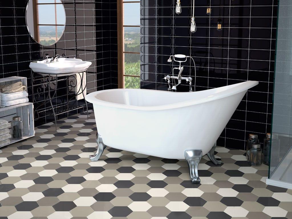 Sechseckige Fliese / für Badezimmer / Küchen / für Böden - HEXAGON - APE