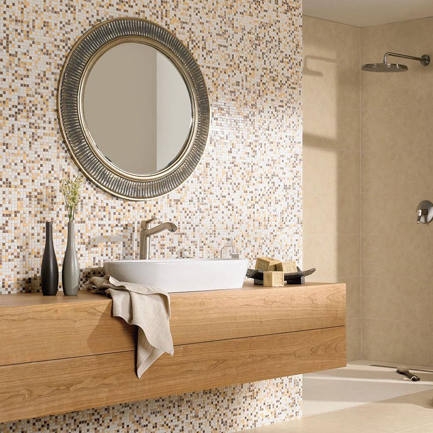 Innenbereich Mosaikfliese / Für Badezimmer / Bodenstehend / Feinsteinzeug    KAURI : SAND BEIGE MIX