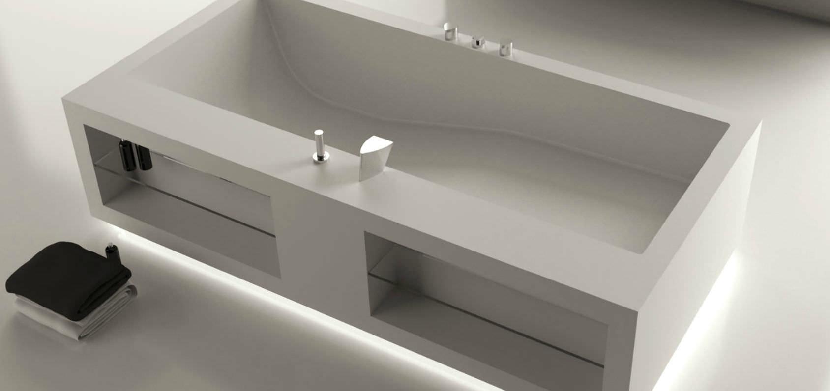 Freistehende Badewanne / aus Corian® - COMFORT TANK LED 3 - MOMA ...