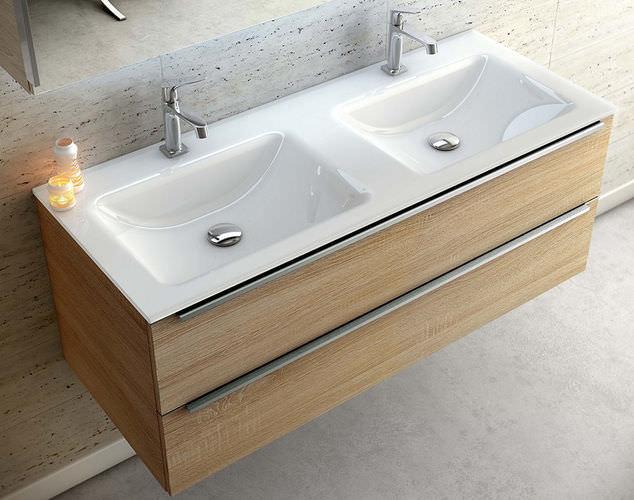 Doppelter Waschtischunterschrank / hängend / Holz / modern ... | {Doppelwaschtisch mit unterschrank holz 67}