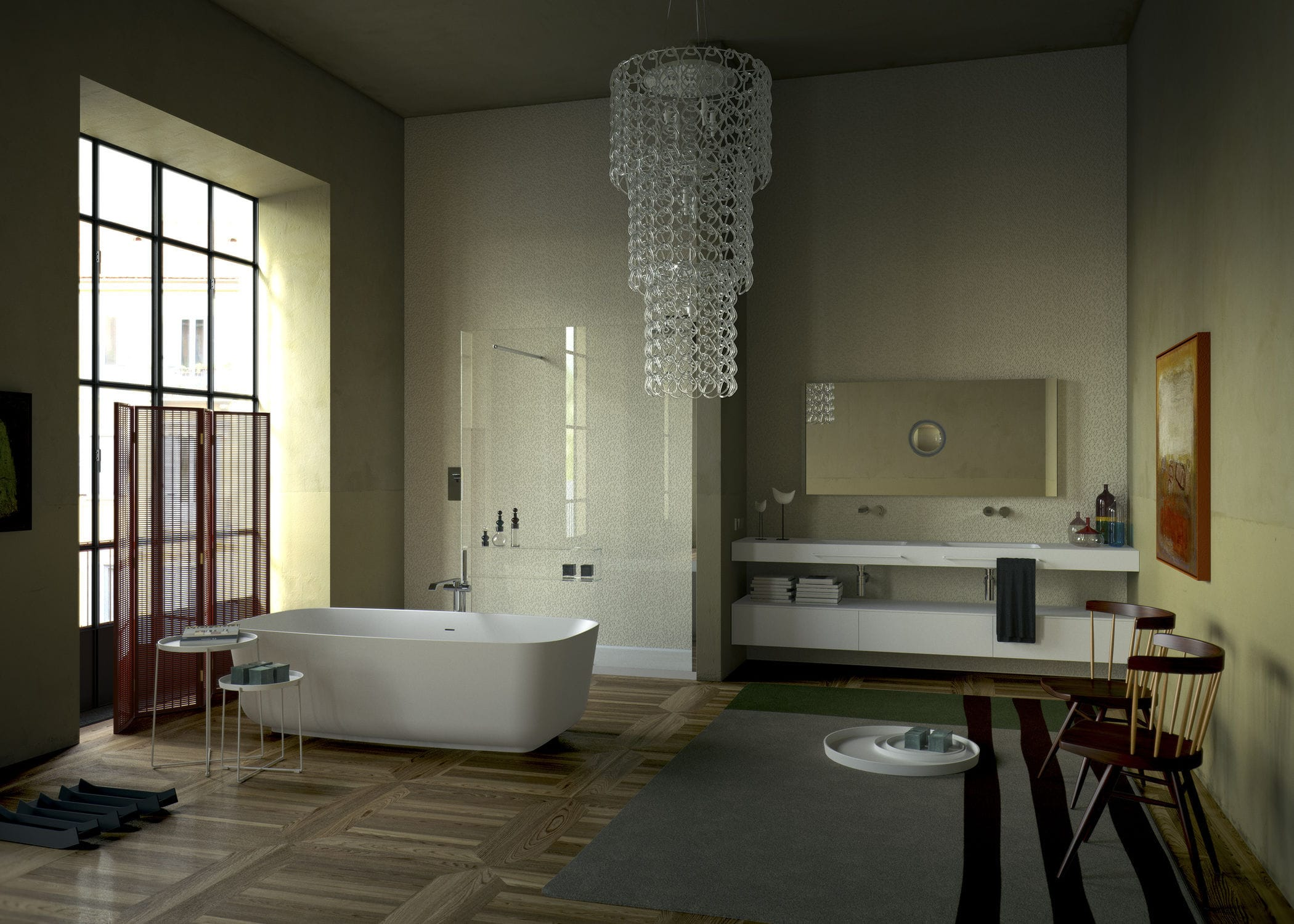 Neutra Waschbecken doppelter waschtisch unterschrank hängend holz modern