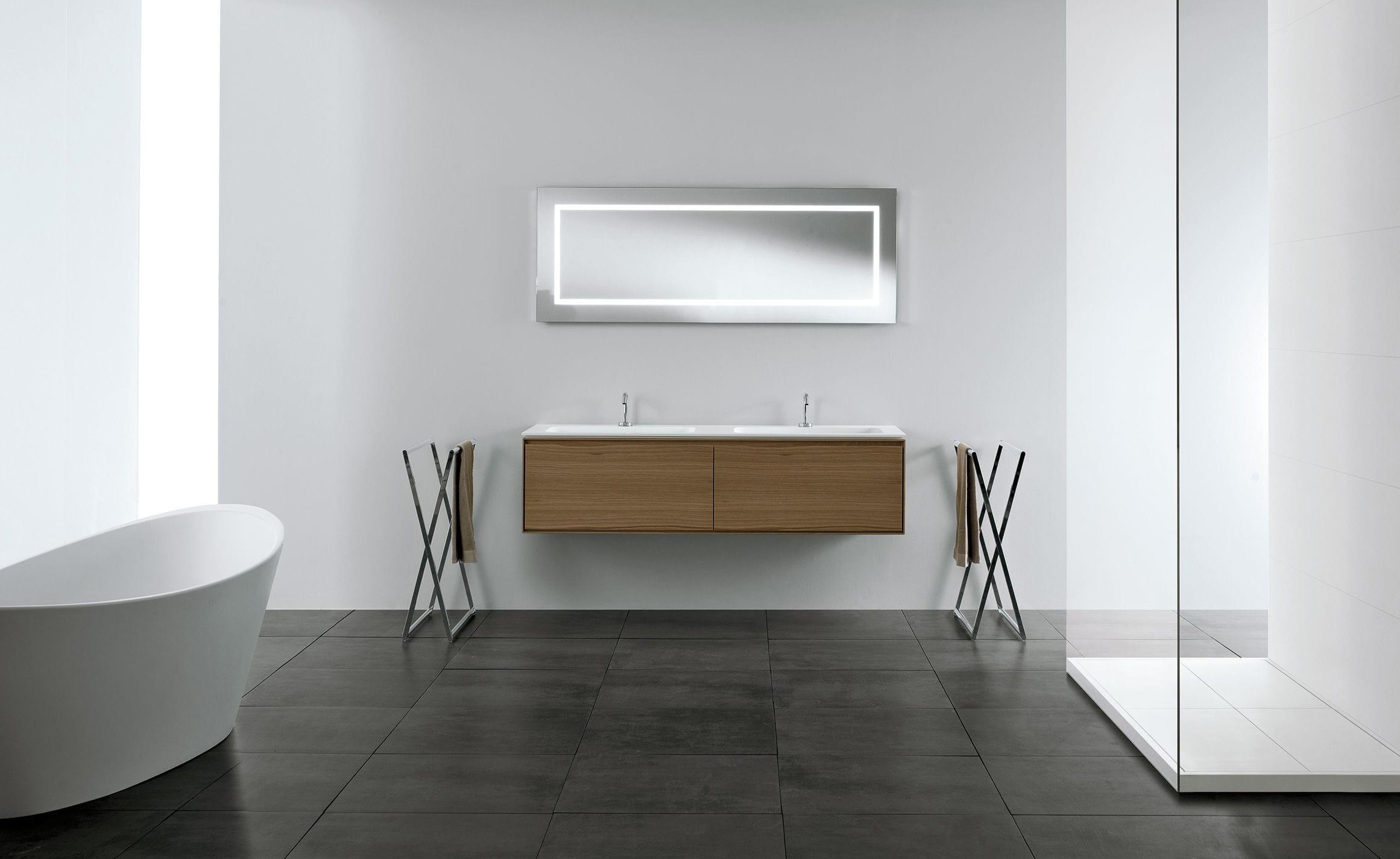 Doppelter Waschtischunterschrank / hängend / Massivholz / modern ... | {Waschtischunterschrank modern 29}