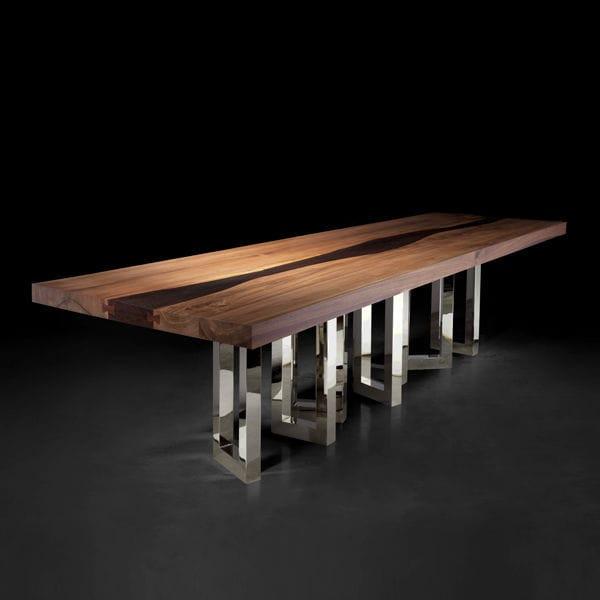 Esstisch / Originelles Design / Massivholz / Esche / Amerikanischer Nussbaum    IL PEZZO 6