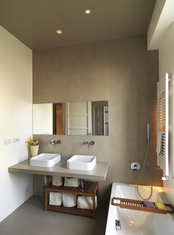 dekorputz / innenraum / zementfein / polierte beton-optik - beton
