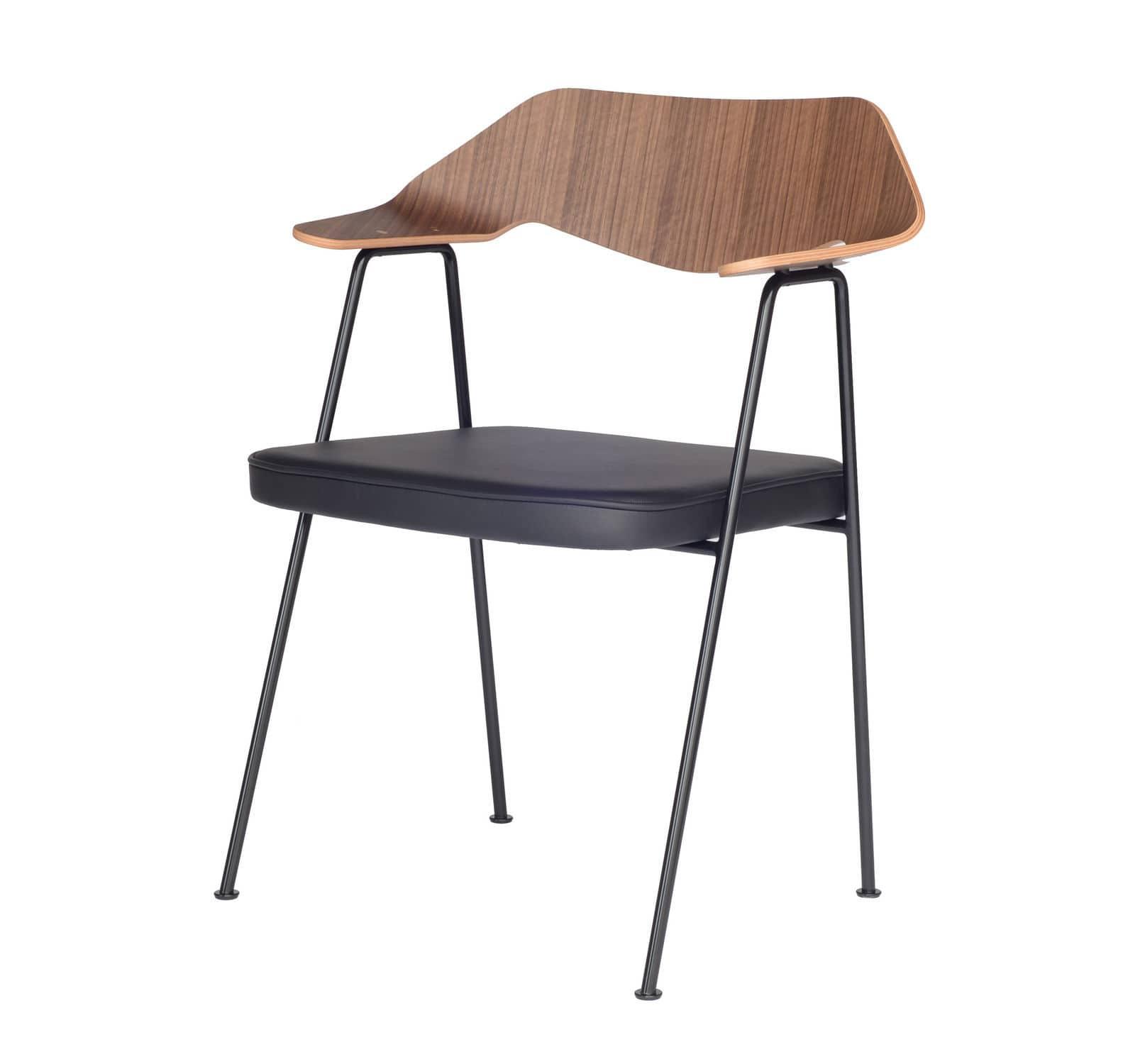 Moderner Stuhl Mit Armlehnen Geformtes Sperrholz Aus Nussbaum