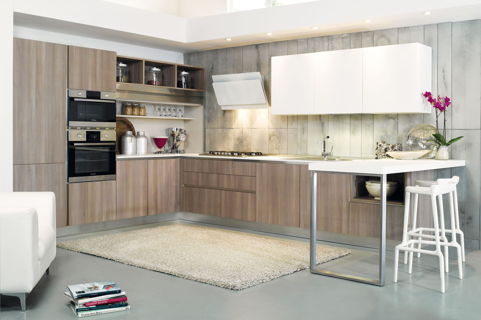 Moderne Küche / Holz / Melamin / L-förmig - JOLIE - Aurora cucine