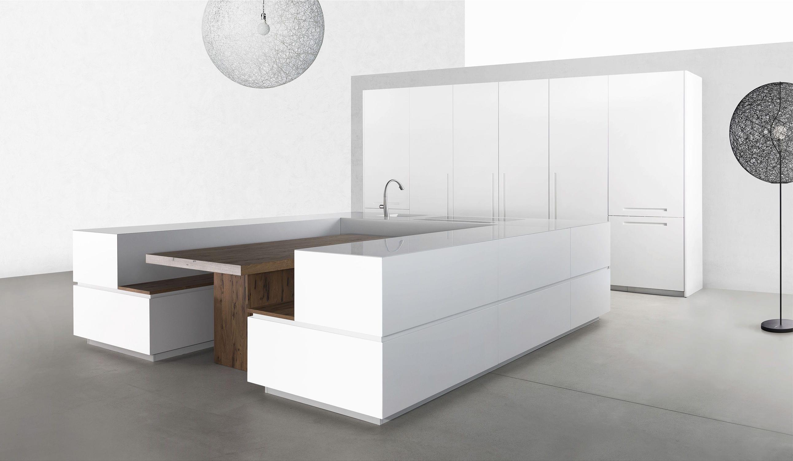 Moderne Küche / Holz / U-Rohr / ohne Griff ...