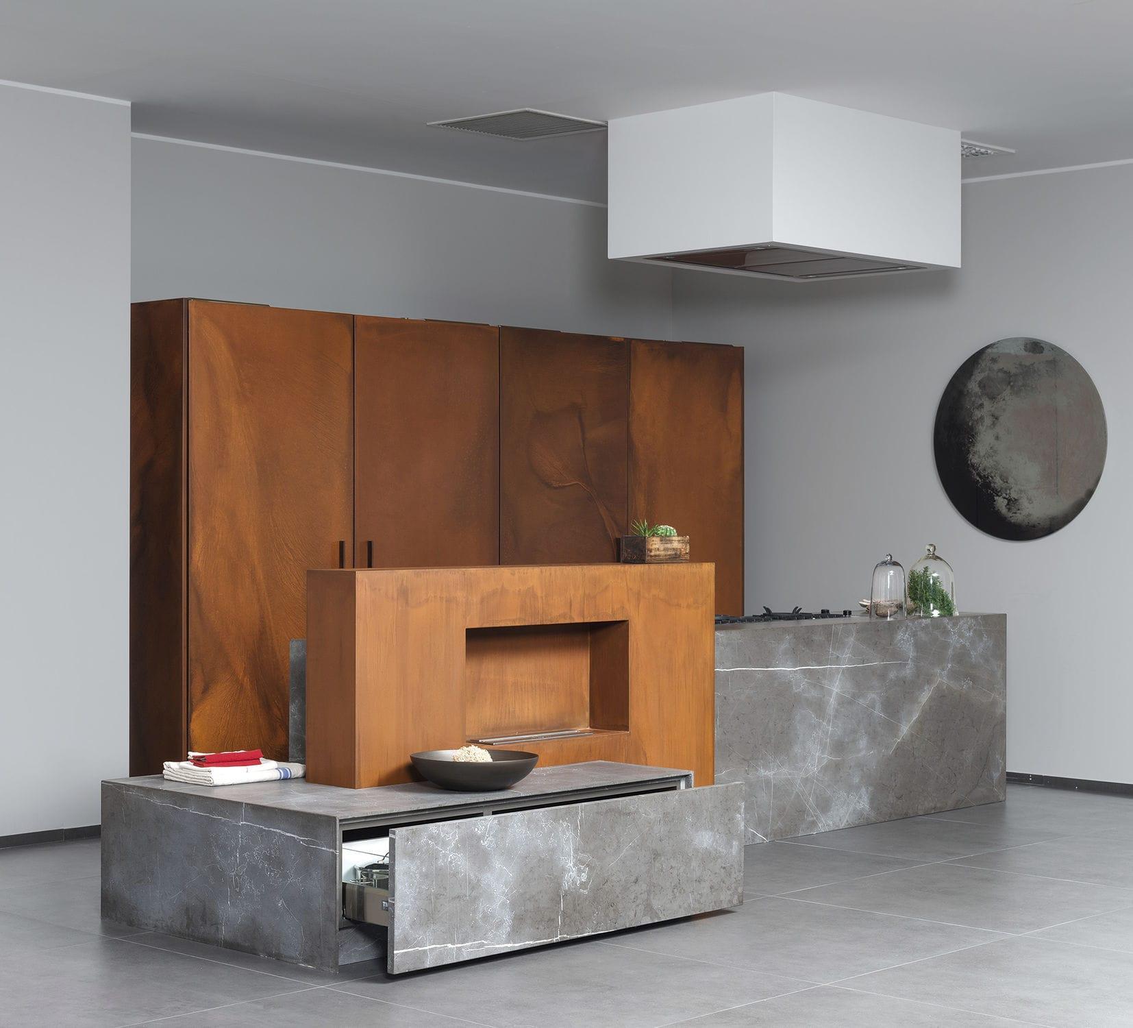 Wohnwand design stein  Stein-Küche / Metall / Kochinsel - 201112#11_D90_PIETRA DI CORINTO ...