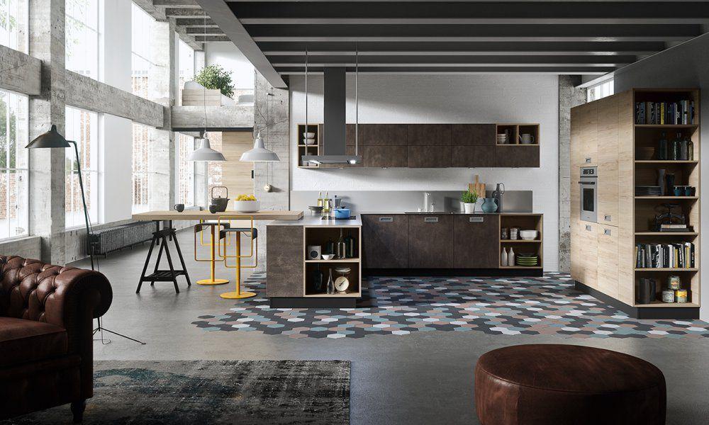 Moderne Kuche Holz L Formig Mit Integriertem Griff Oslo