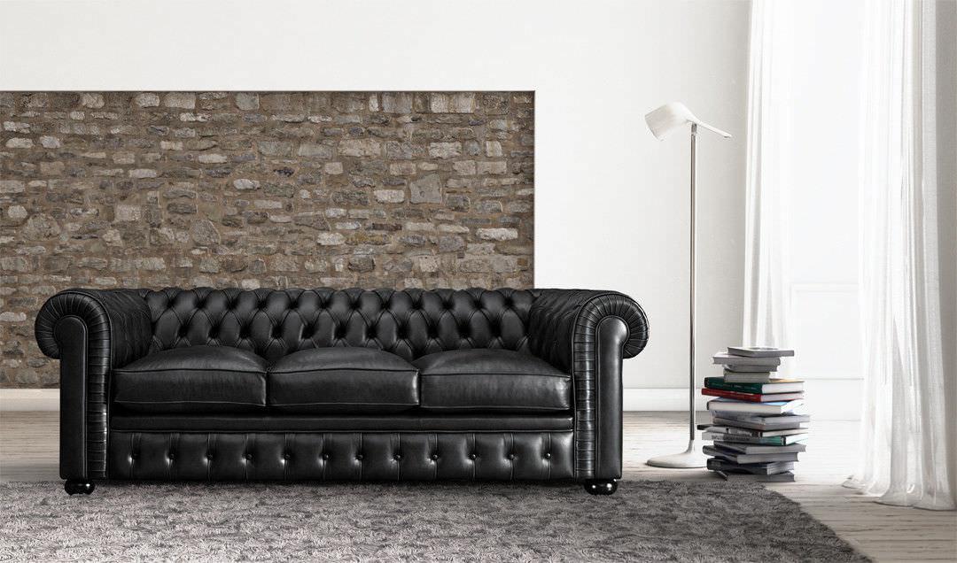 Chesterfield Sofa Leder 3 Platze Schwarz B V