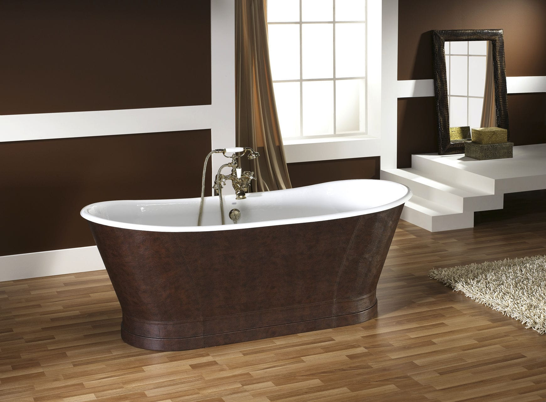 Freistehende Badewanne Oval Aus Gusseisen Kupfer Epoque Recor