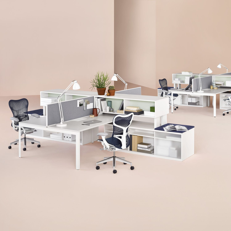 schreibtisch fr open space holzfurnier laminat metall layout studio herman miller europe - Herman Miller Schreibtisch