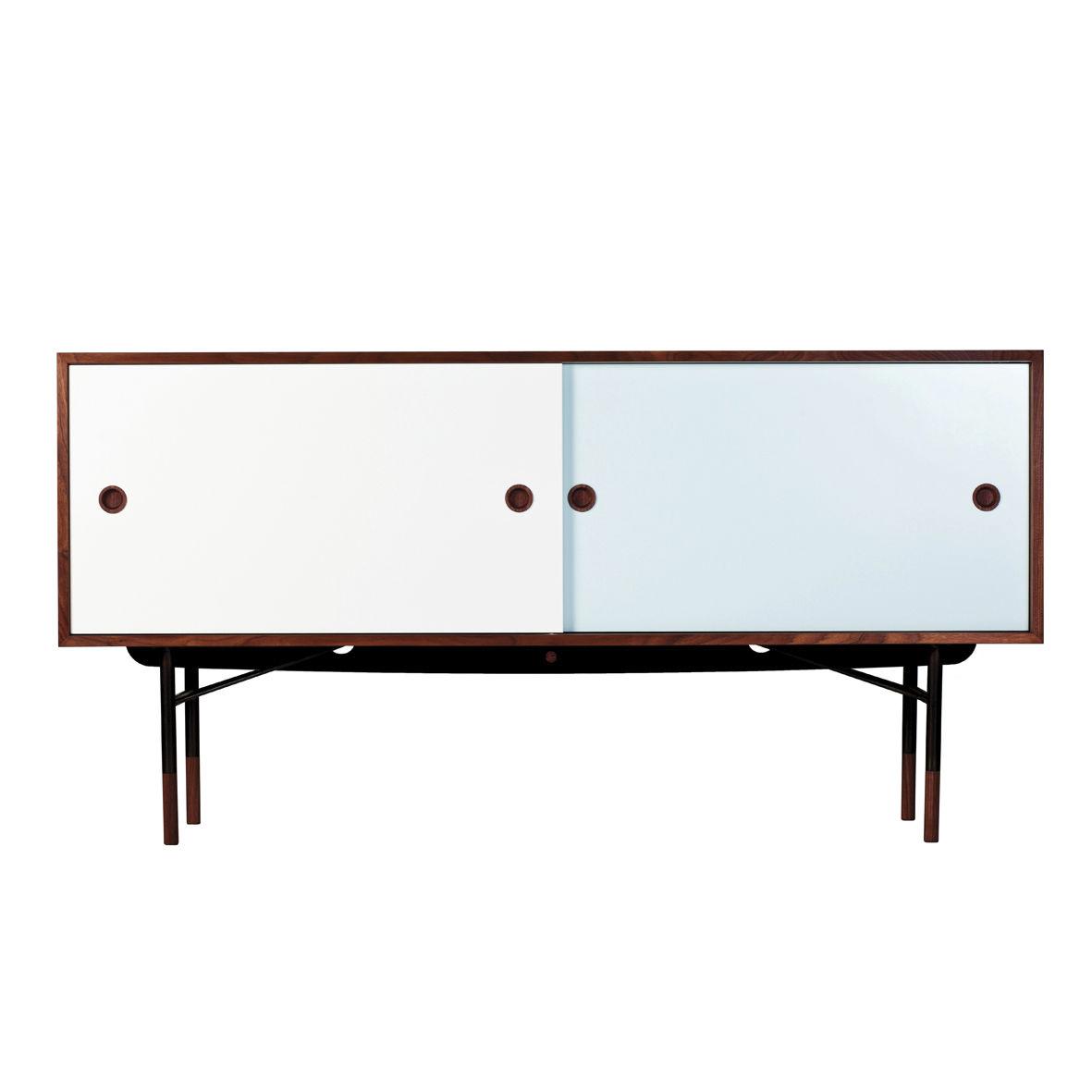 Sideboard / Skandinavisches Design / aus Eiche / Nussbaum / Stahl ...