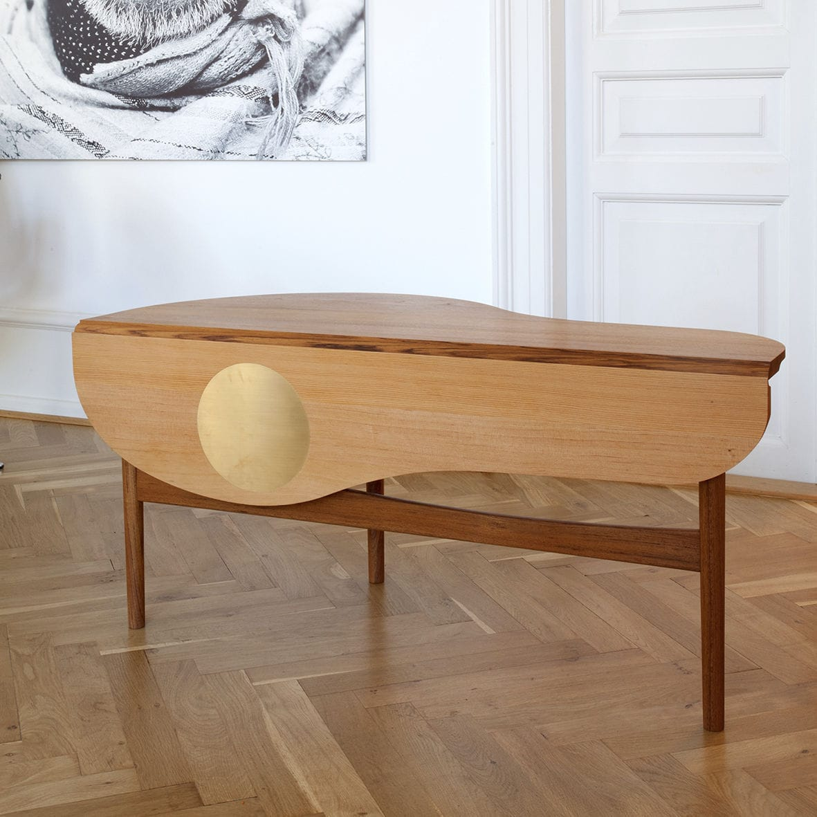 Couchtisch / Skandinavisches Design / Aus Teakholz / Aus Kiefer / Messing    BUTTERFLY