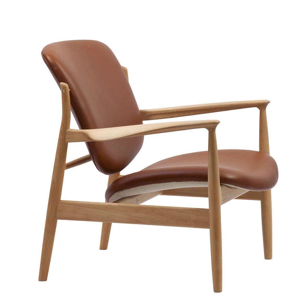 Sessel / Skandinavisches Design / Holz / Stoff / Leder - FRANCE ...