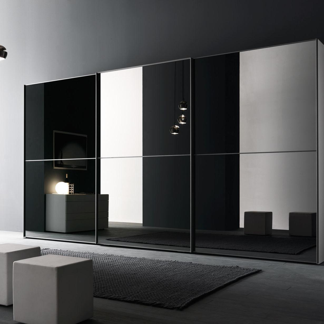 Moderner kleiderschrank / glas / schiebetüren / spiegel   l12 ...