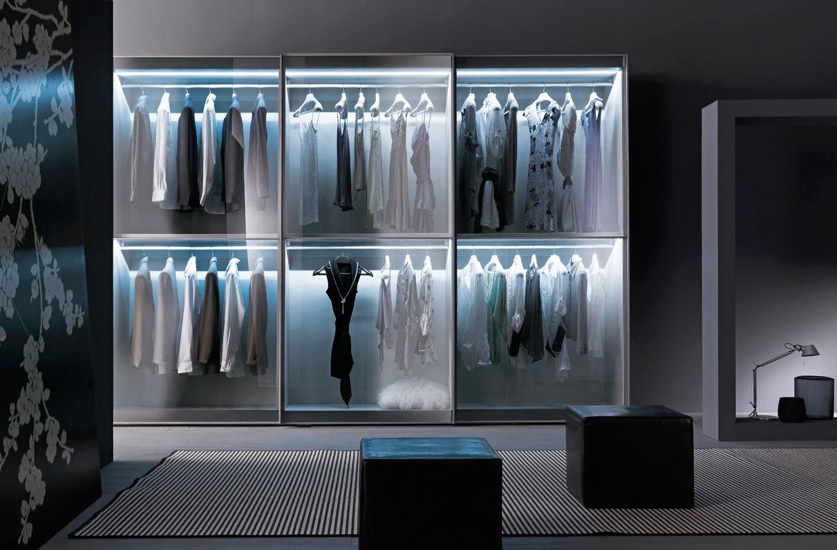 Kleiderschrank schiebetüren spiegel  Moderner Kleiderschrank / Glas / Schiebetüren / Spiegel - L12 ...