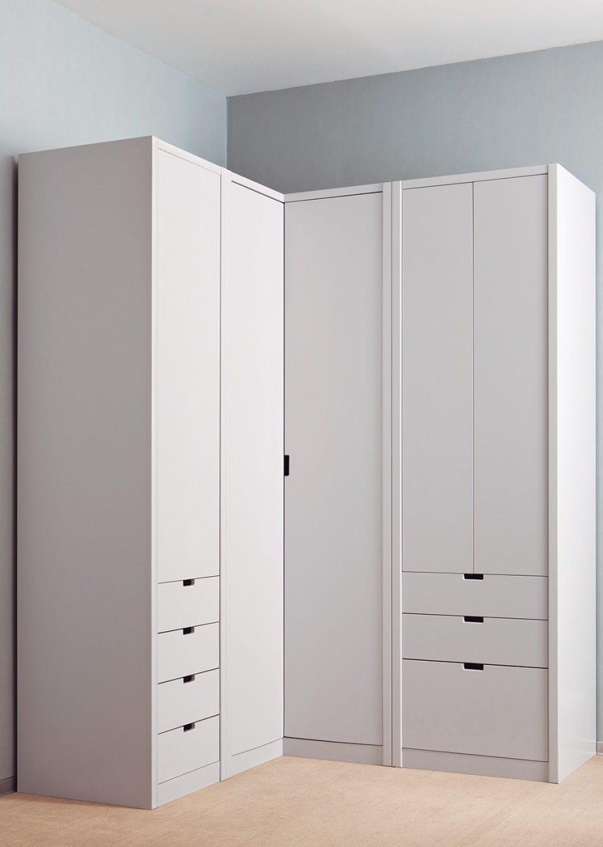 Eckkleiderschrank / modern / lackiertes Holz / Schwingtüren - LISO ...
