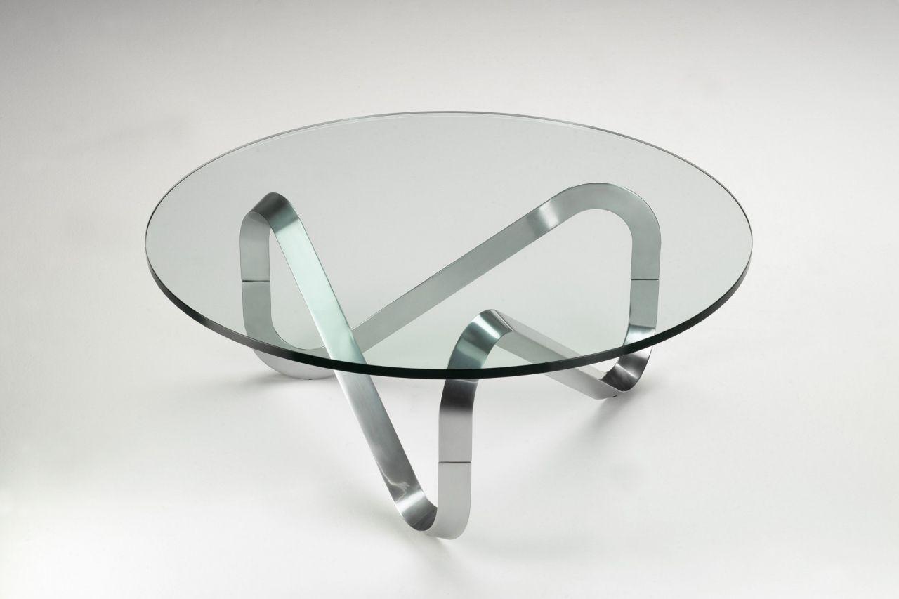 Moderner Couchtisch / Glas / Metall / Rund ...