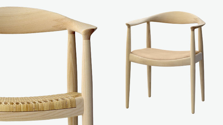 Moderner Stuhl / Mit Armlehnen / Holz / Von Hans J. Wegner   PP501/PP503