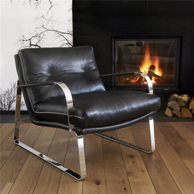 Sessel Skandinavisches Design Stoff Aus Chrom Leder Shabby