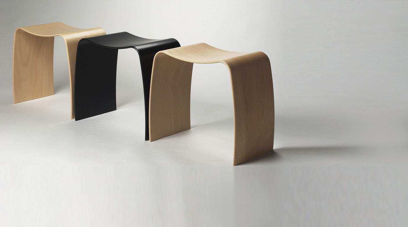 Moderner Hocker / Holz / Stapel / weiß - M by Jørgen Møller - Askman | {Hocker modern 1}